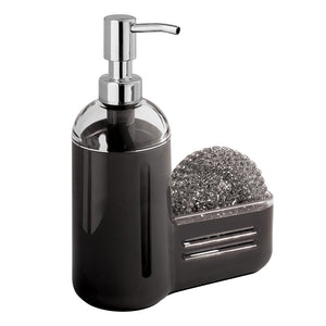 mDesign Kitchen Sink Soap Dispenser Pump and Sponge Caddy - Black/Clear