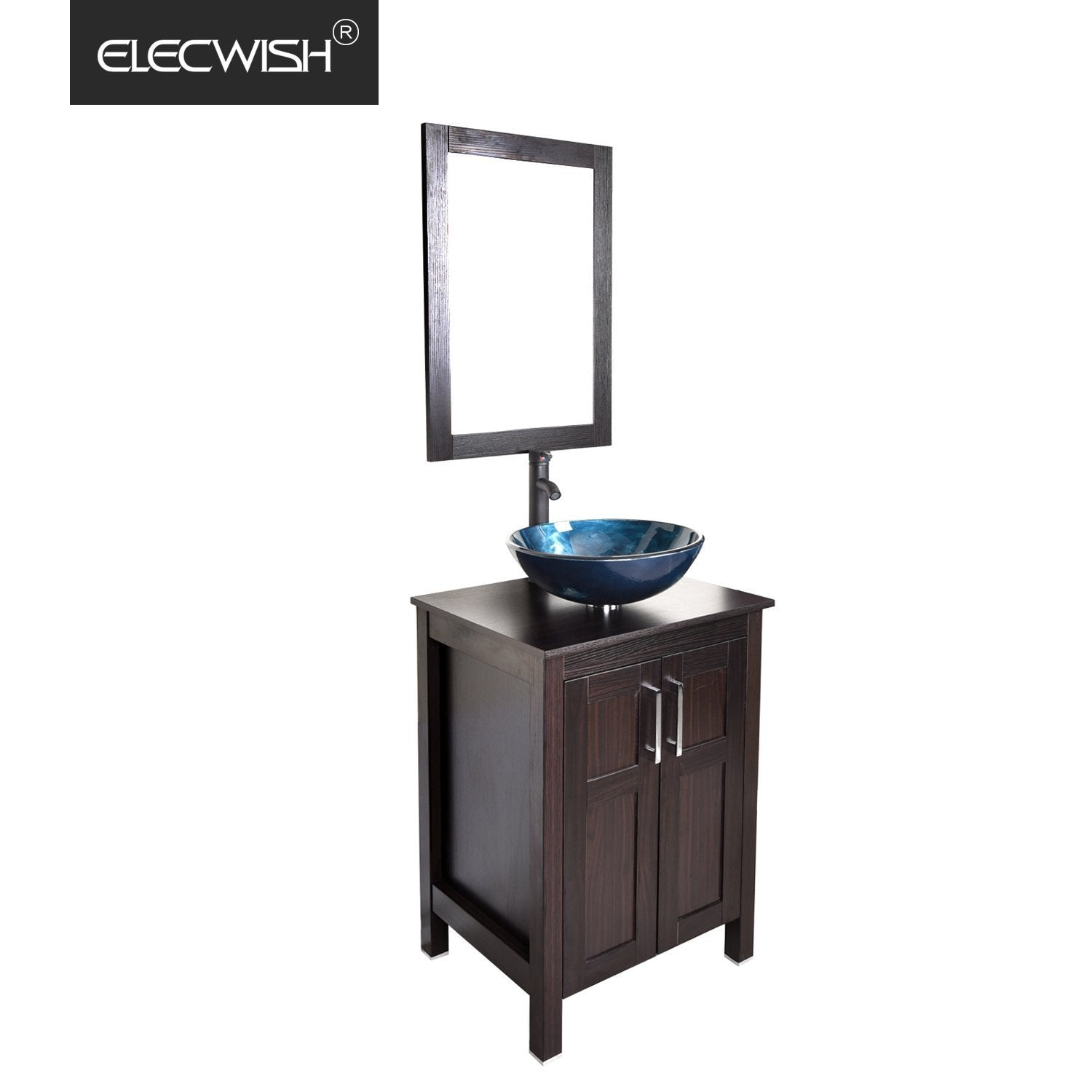 Top rated elecwish usba20090 usba20077 bathroom vanity and sink combo stand cabinet and tempered blue glass vessel sink orb faucet and pop up drain mirror mounting ring
