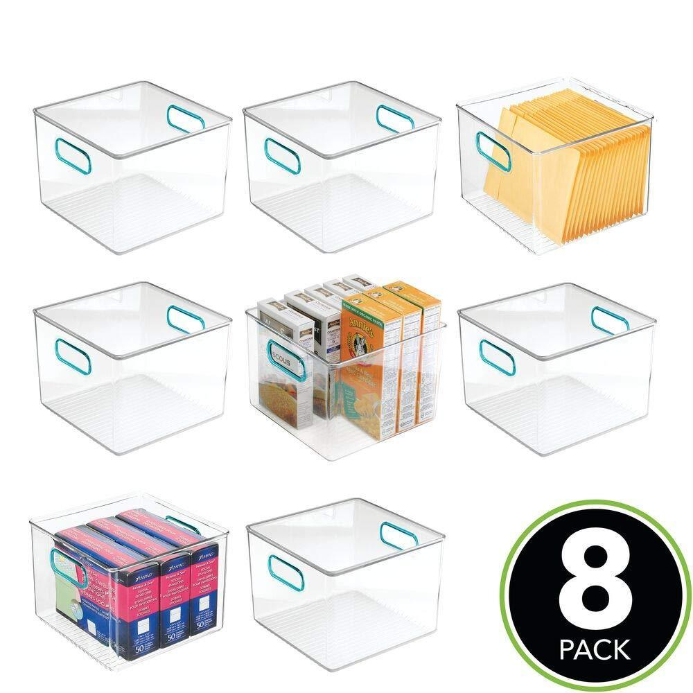 Get mdesign plastic home office storage organizer container with handles for cabinets drawers desks workspace bpa free for pens pencils highlighters notebooks 8 wide 8 pack clear blue