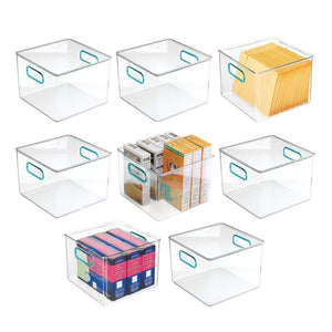 Discover mdesign plastic home office storage organizer container with handles for cabinets drawers desks workspace bpa free for pens pencils highlighters notebooks 8 wide 8 pack clear blue