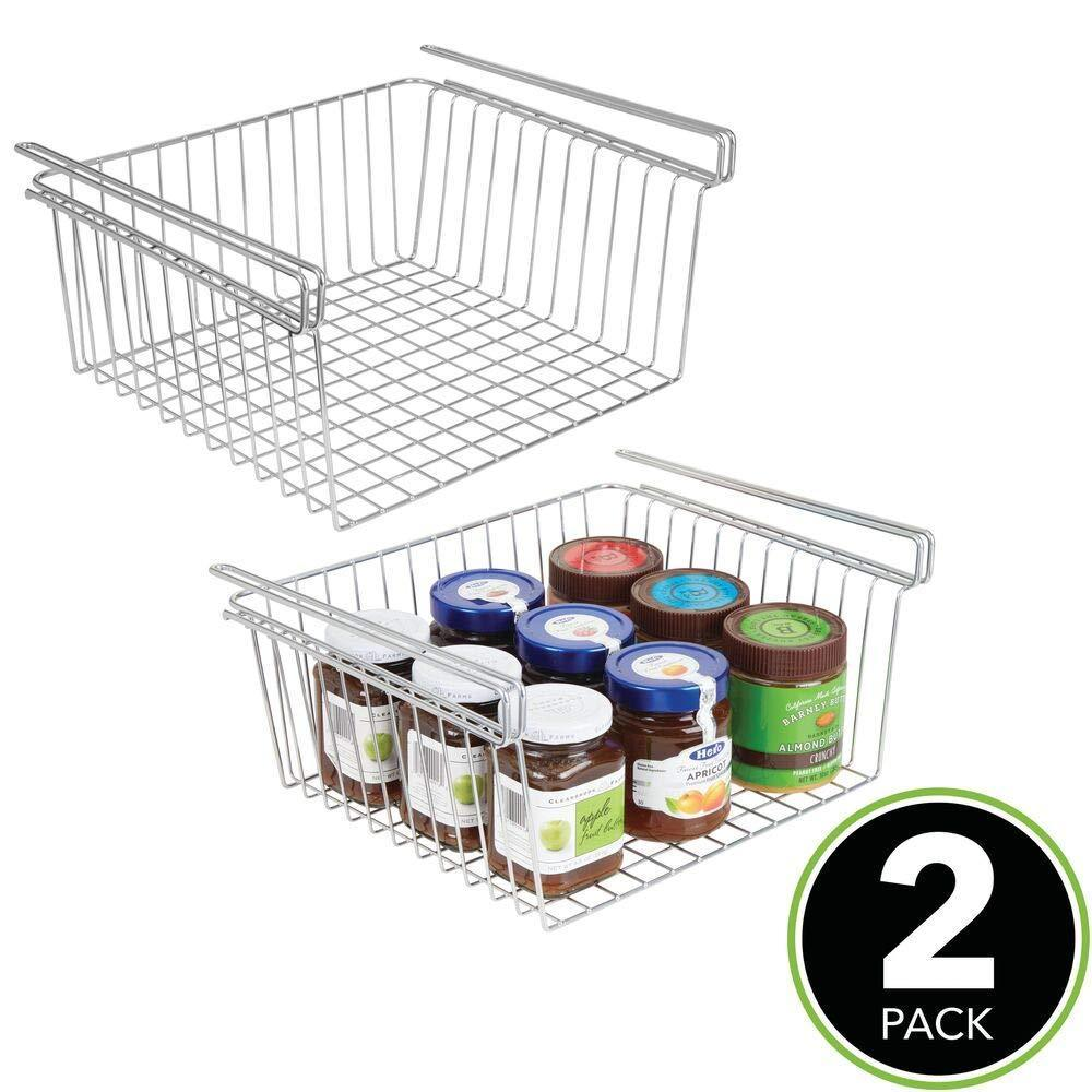 Shop here mdesign household metal under shelf hanging storage organizer bin basket for organizing kitchen pantry cabinets cupboards shelves vintage modern farmhouse grid style large 2 pack chrome