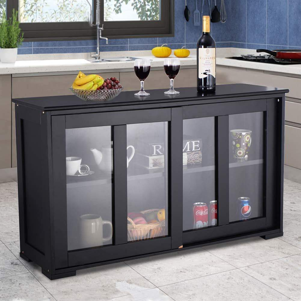 Best seller  waterjoy kitchen storage sideboard stackable buffet storage cabinet with sliding door tempered glass panels for home kitchen antique black