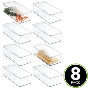 Discover the best mdesign plastic food storage container bin with lid and handle for kitchen pantry cabinet fridge freezer organizer for snacks produce vegetables pasta 8 pack clear
