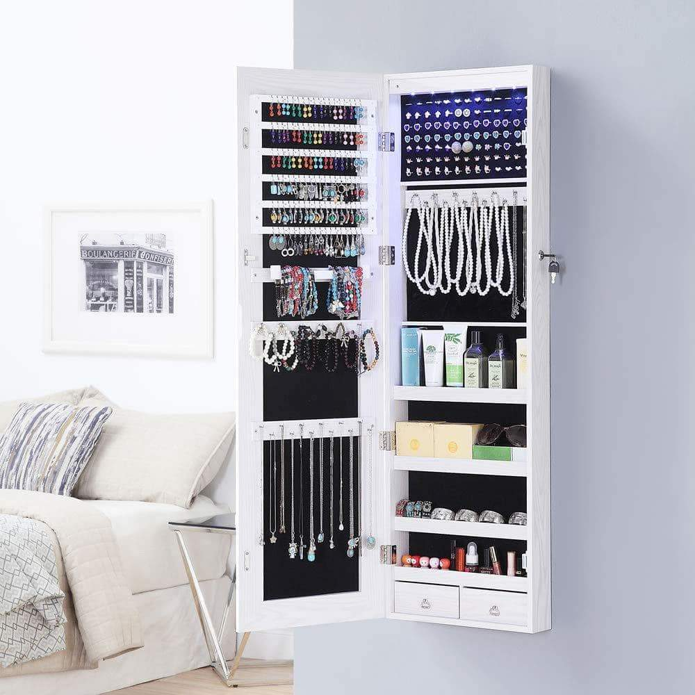 Products gissar full length mirror jewelry cabinet 6 leds jewelry armoire wall mounted over the door hanging jewelry organizer storage with lights lockable white