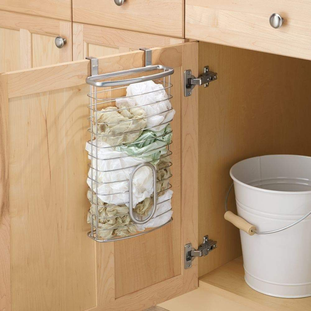 New mdesign metal over cabinet kitchen storage organizer holder or basket hang over cabinet doors in kitchen pantry holds up to 50 plastic shopping bags silver