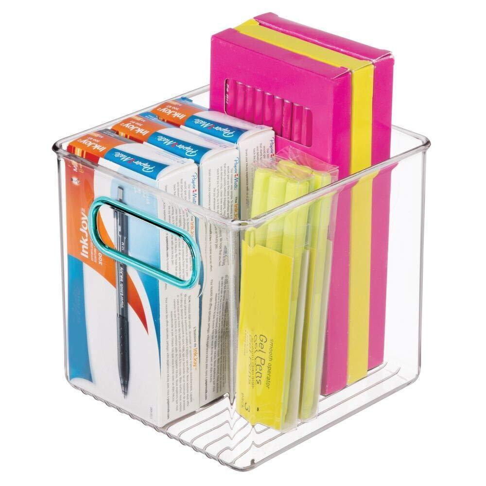 Buy mdesign plastic home office storage organizer container with handles for cabinets drawers desks workspace bpa free for pens pencils highlighters notebooks 6 cube 4 pack clear blue