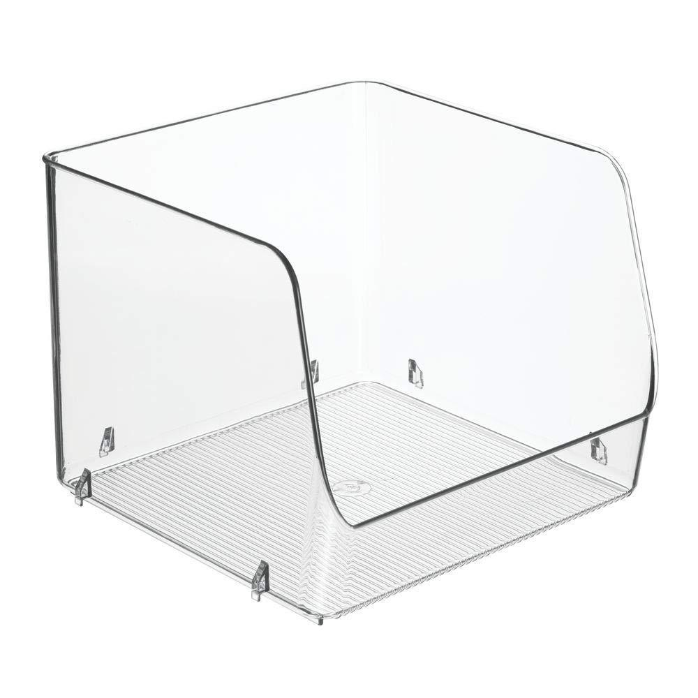 Order now mdesign large stackable plastic bathroom storage organizer bin basket with wide open front for vanity countertops cabinets closets under sinks cube 7 75 wide 4 pack clear