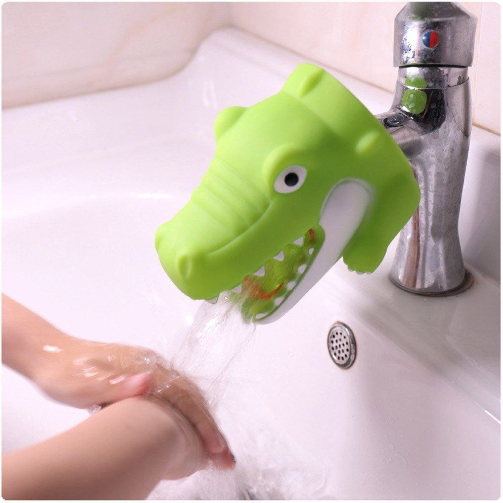 YJYdada Kitchen Bathroom Duck Faucet Extender Sink Handle Extender Child Washing Easily (Green)