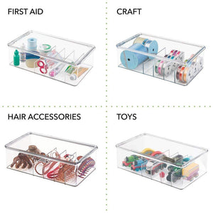 Exclusive mdesign stackable plastic storage organizer container for kitchen cabinets pantry countertops holds kids child toddler mealtime sets small accessories 6 sections bpa free 4 pack clear