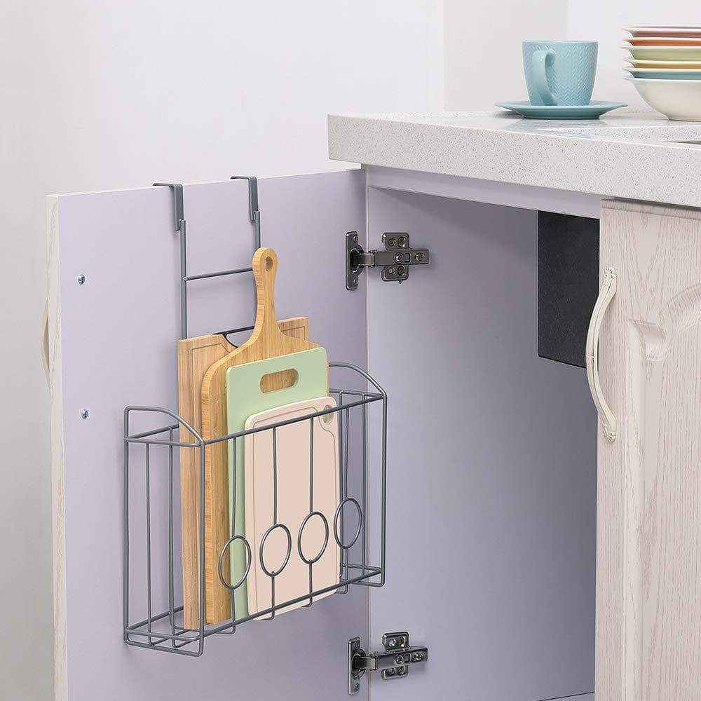 Great nex over the cabinet door organizer cabinet storage basket for cutting board aluminum foil cleaning supplies silver