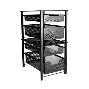 Purchase stackable 2 tier organizer baskets with mesh sliding drawers ideal cabinet countertop pantry under the sink and desktop organizer for bathroom kitchen office