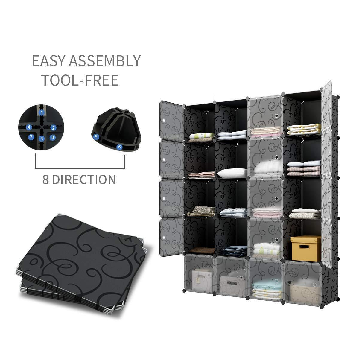 Save on kousi cube storage cube organizer cube storage shelves cubby organizing closet storage organizer cabinet shelving bookshelf toy organizer black varation 40 cubes