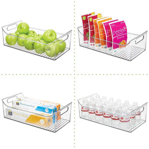 Buy now mdesign wide plastic kitchen pantry cabinet refrigerator or freezer food storage bin with handles organizer for fruit yogurt snacks pasta bpa free 16 long 4 pack clear