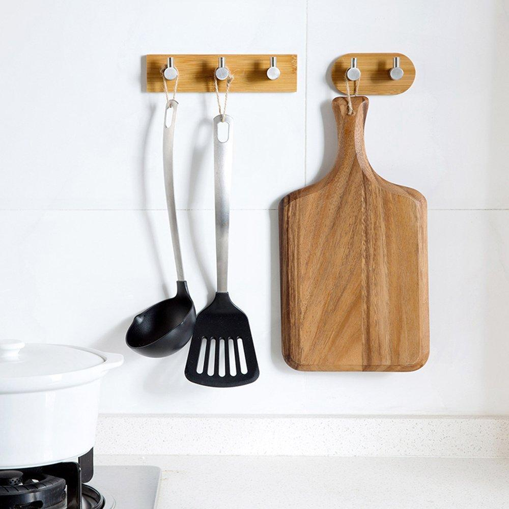 Exclusive adhesive key holder for wall heavy duty wall hooks stainless steel peg natural bamboo hanger for robe towel bag modern bathroom kitchen office cabinet door organizer rack 1 hook