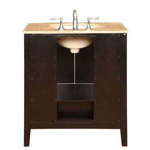Featured silkroad exclusive hyp 0709 t uic 32 travertine stone top single sink bathroom vanity with furniture cabinet 32 dark wood