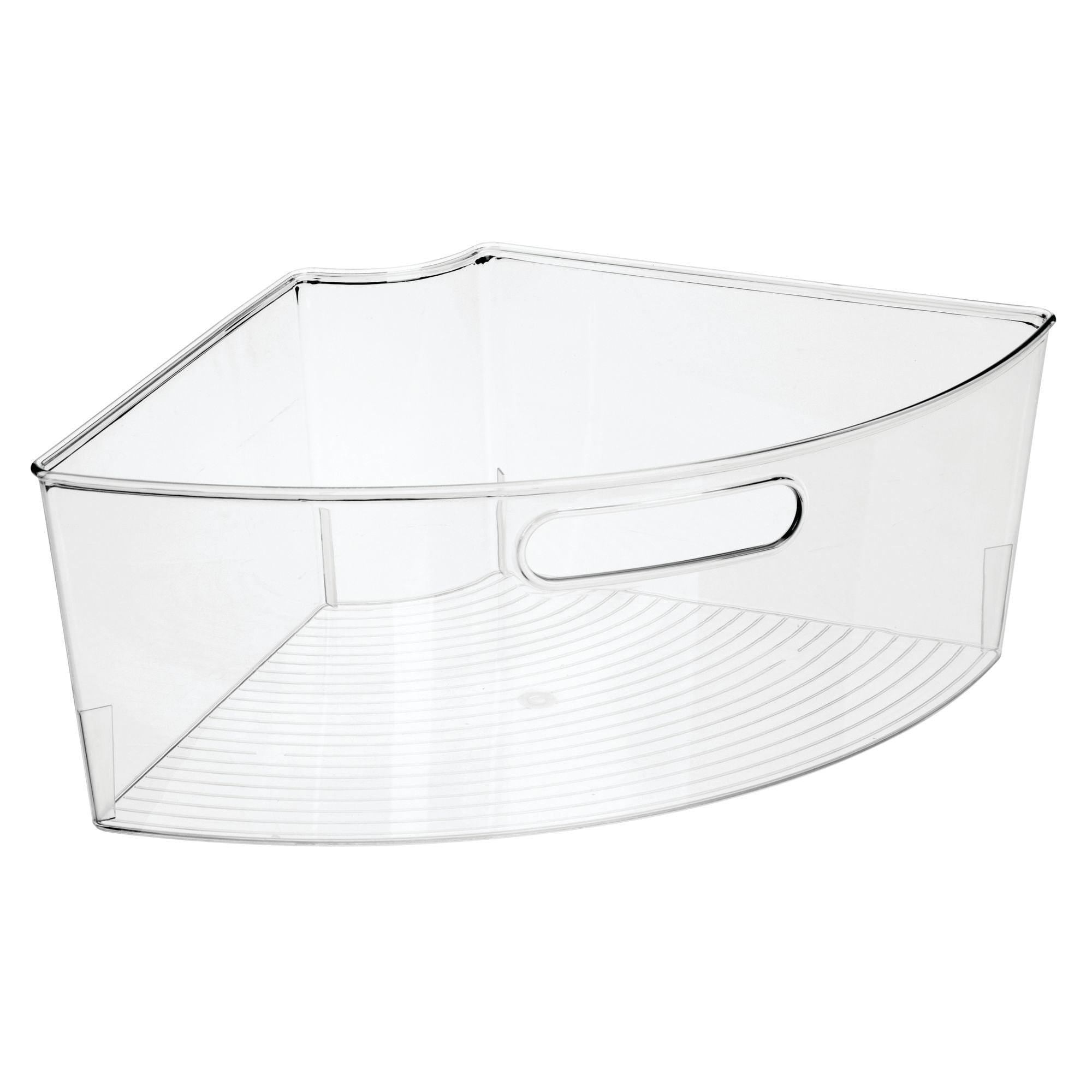 Try mdesign kitchen cabinet plastic lazy susan storage organizer bins with front handle large pie shaped 1 4 wedge 6 deep container food safe bpa free 4 pack clear