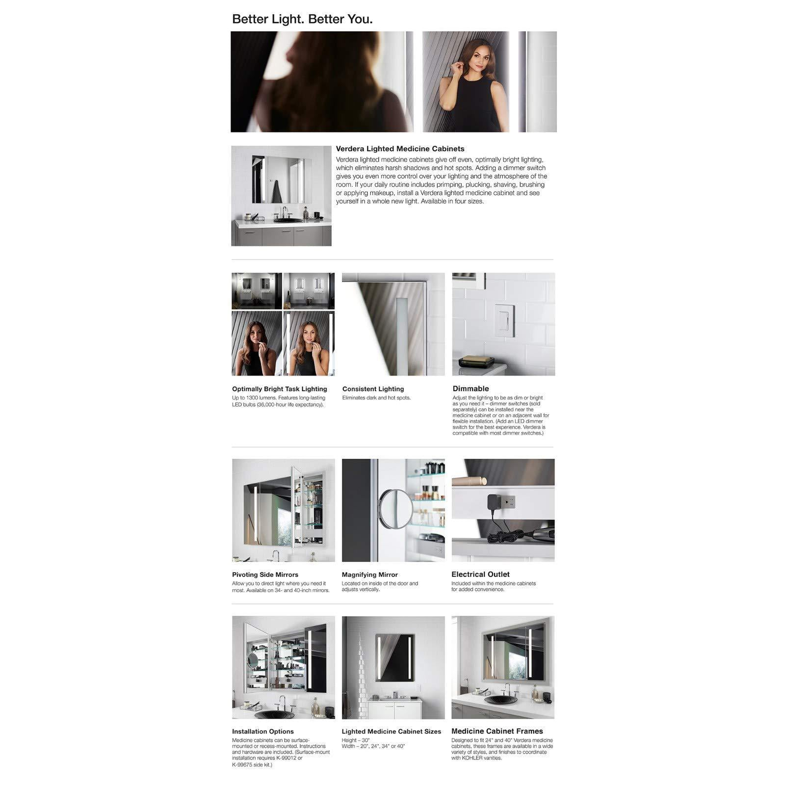 Amazon kohler k 99011 tl na verdera 40 inch x 30 inch led lighted bathroom medicine cabinet slow close hinge internal magnifying mirror aluminum recess or surface mount 3 doors