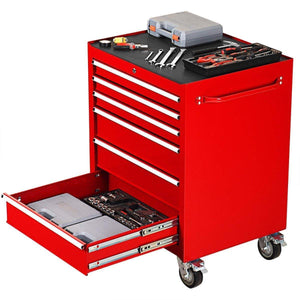 Buy now goplus 30 x 24 5 tool box cart portable 6 drawer rolling storage cabinet multi purpose tool chest steel garage toolbox organizer with wheels and keyed locking system classic red