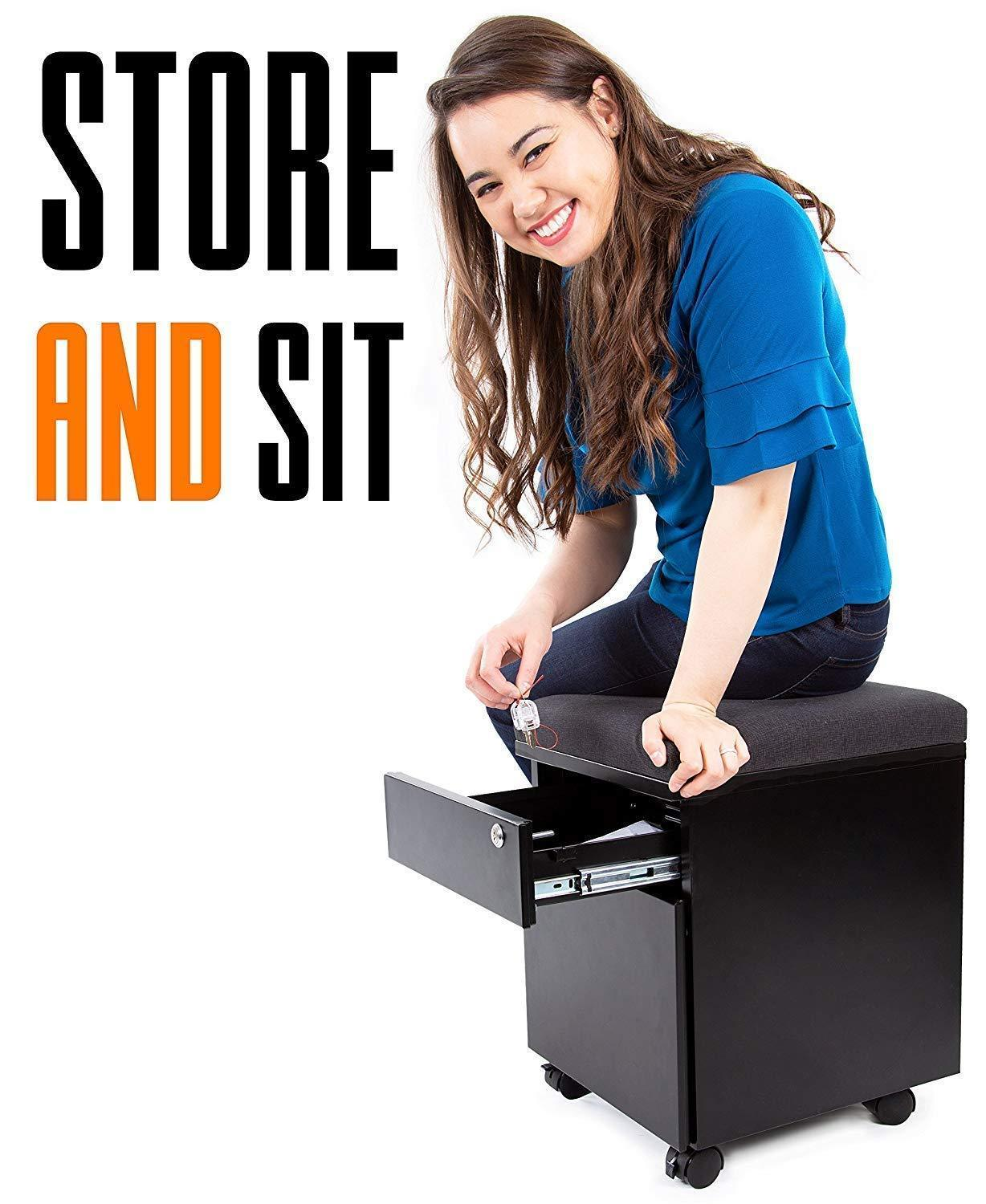 Shop for stand steady vert rolling file cabinet 2 drawer mobile file cabinet with cushion top small filing cabinet delivers convenient storage key lock and an extra place to sit black