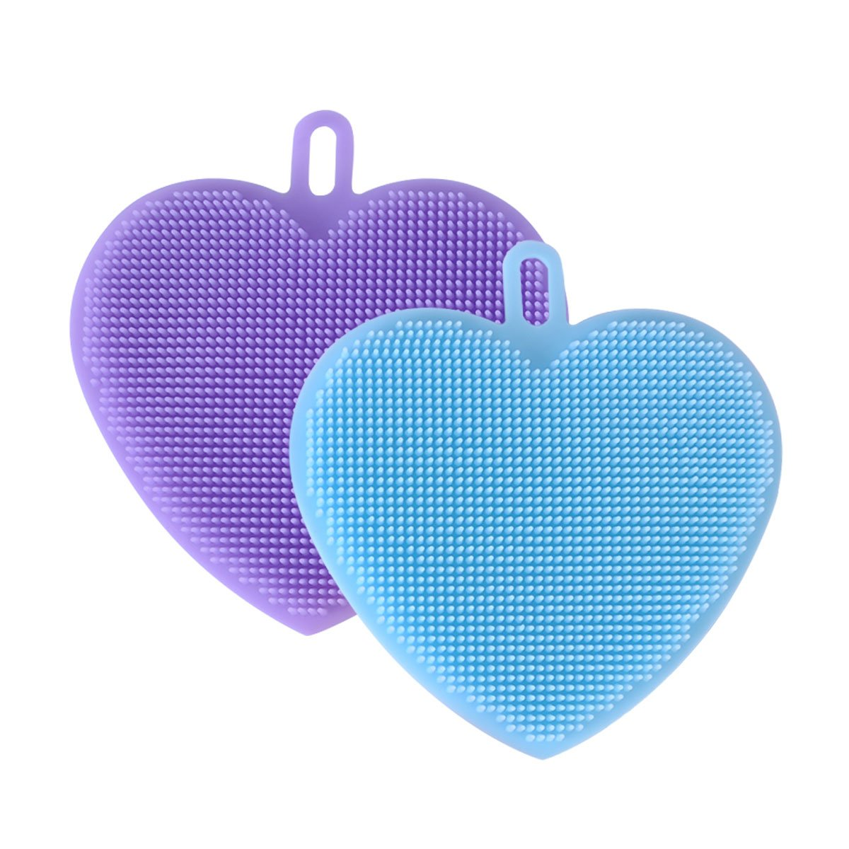 Prokitchen Antibacterial Silicone Sponge Kitchen Best for Washing Pots and Pans, Scrubbing Vegetables and Cleaning Dishes, Heart Shape, Non-Scratch and Heat-Resistant, Set of 2