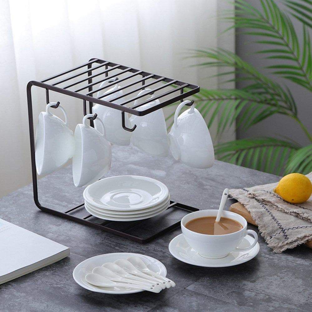 Shop for 7u metal coffee mug cup holder organizer stand for cabinet counter desk kitchen drying display rack with 6 hooks for large mug 9 5 x 9 1inch black