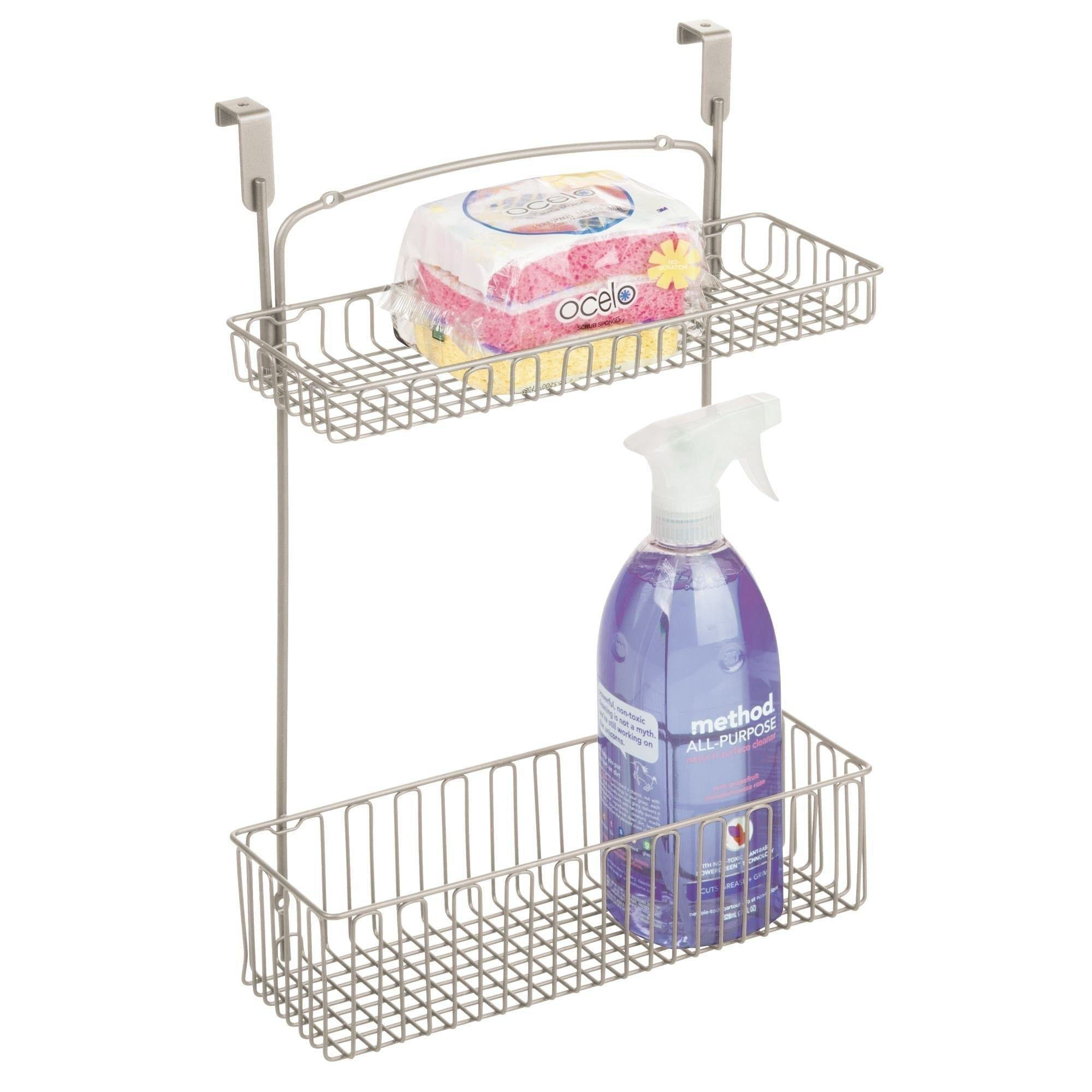 Order now mdesign metal farmhouse over cabinet kitchen storage organizer holder or basket hang over cabinet doors in kitchen pantry holds dish soap window cleaner sponges satin