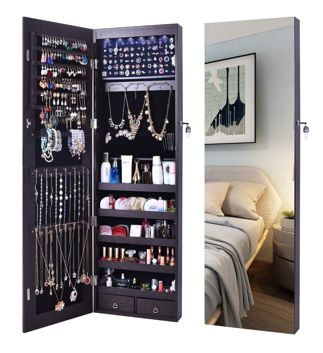Budget aoou jewelry organizer jewelry cabinet wall mounted jewelry organizer with mirror full length mirror large capacity dressing makeup jewery mirror jewelry armoire brown