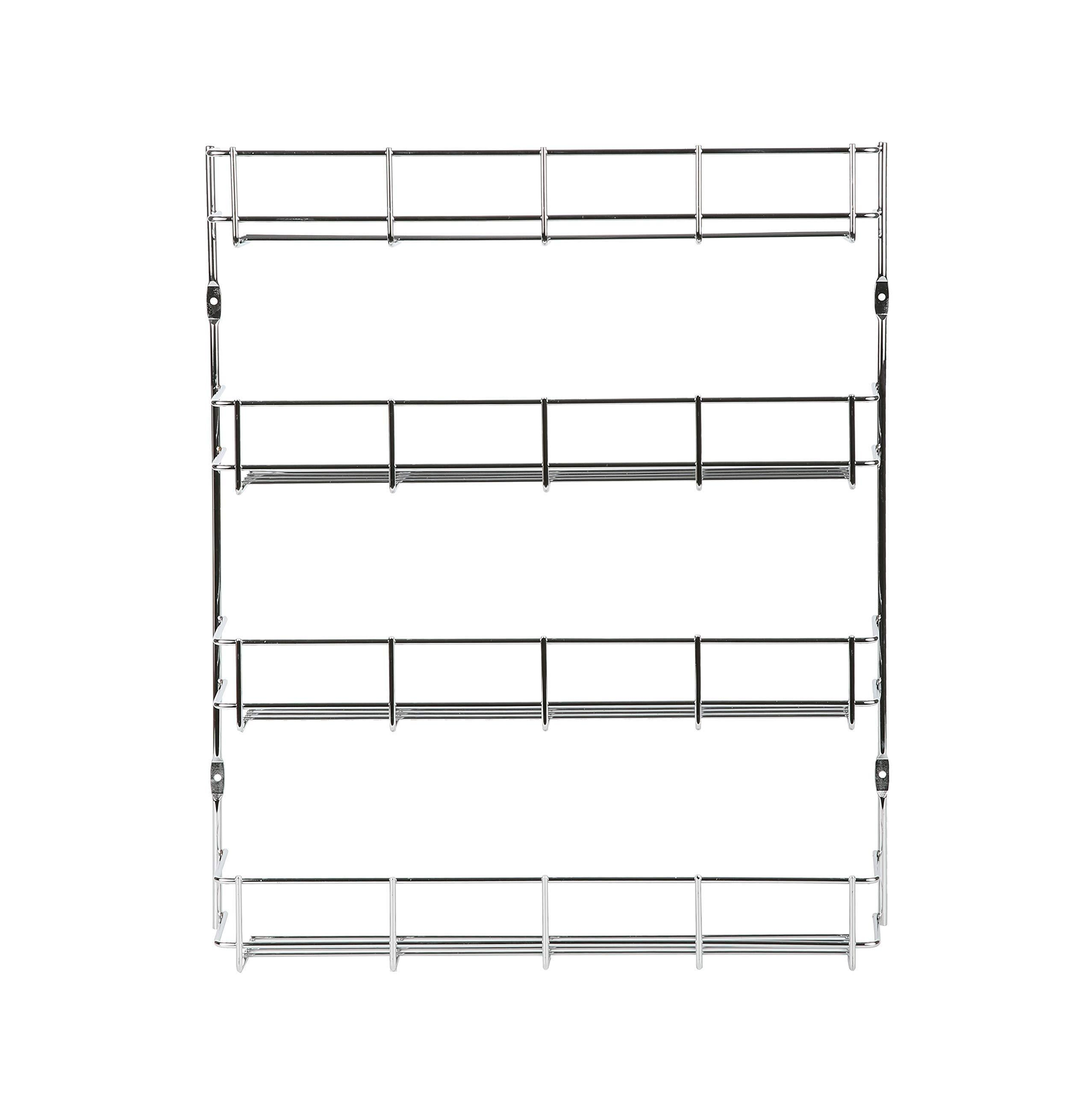 Exzact EXERZ Herb and Spice Rack 4 Tiers – Kitchen Shelf Organiser for Jars, Perfect Space Saving and Storage. Wall mountable or Cupboard Door Fitting (Fixings Included in The Package) EXSR004-4