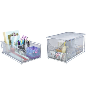 Related sorbus cabinet organizer set mesh storage organizer with pull out drawers ideal for countertop cabinet pantry under the sink desktop and more silver two piece set