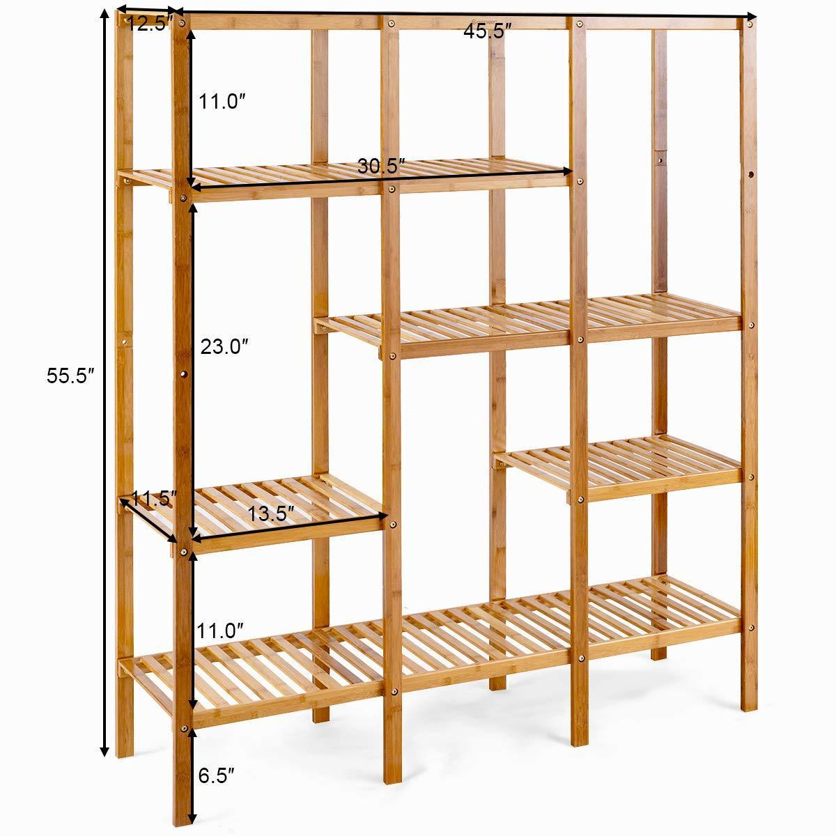 Top rated costway multifunctional bamboo shelf bathroom rack storage organizer rack plant display stand w several cell closet storage cabinet 5 tier