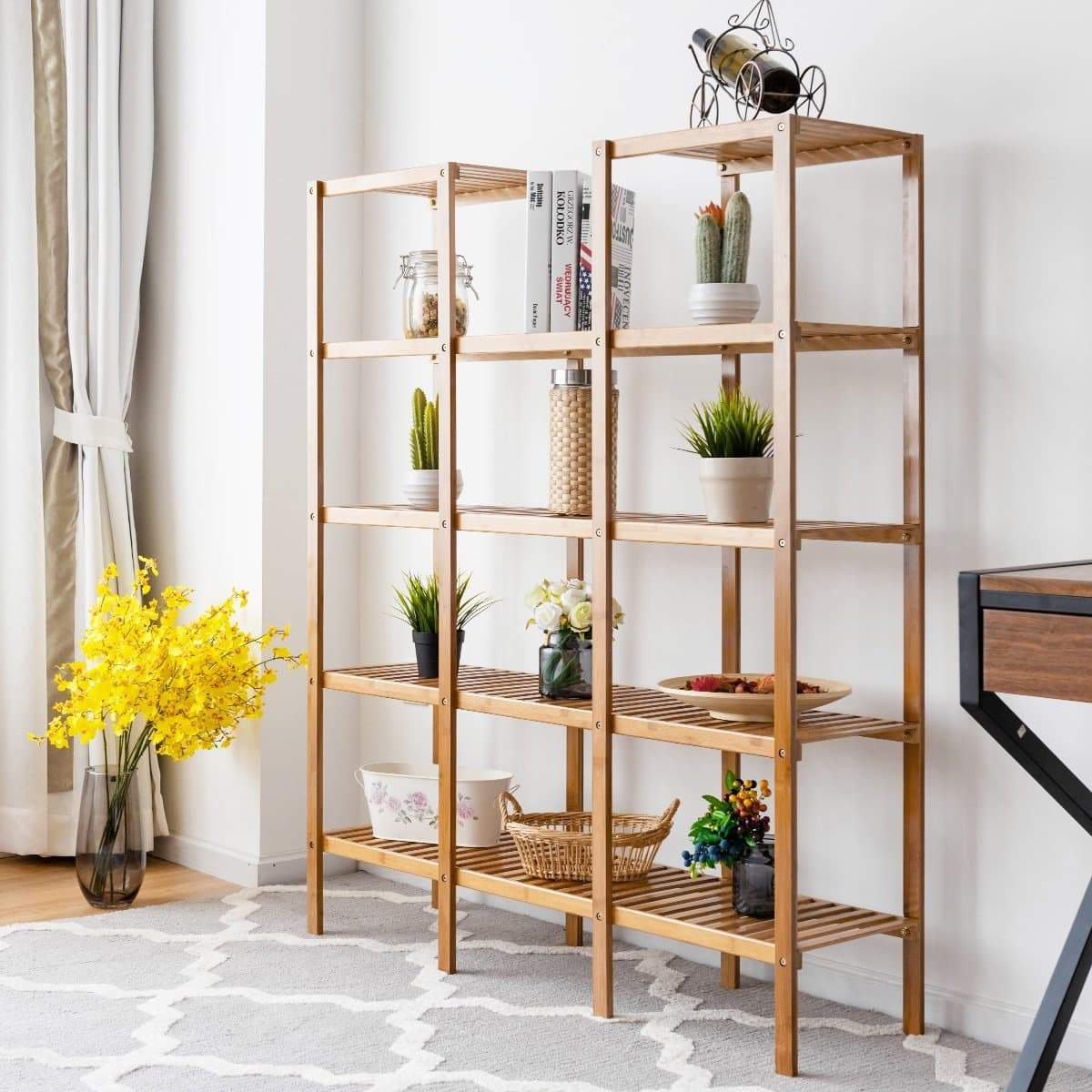 Latest costway bamboo utility shelf bathroom rack plant display stand 5 tier storage organizer rack cube w several cell closet storage cabinet 12 pots