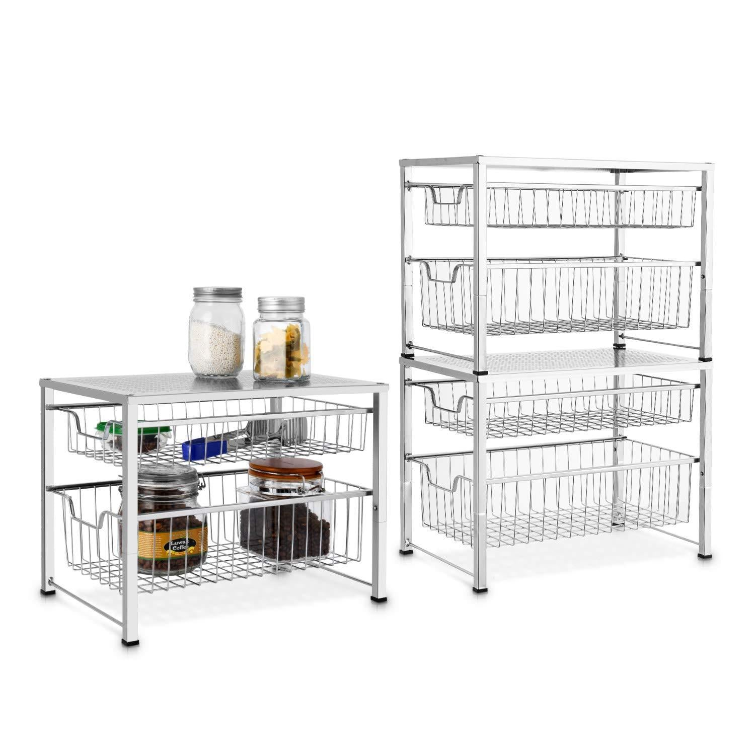 Online shopping bextsware under sink cabinet organizer with 2 tier wire grid sliding drawer multi function stackable mesh storage organizer for kitchen counter desktop bathroomchrome