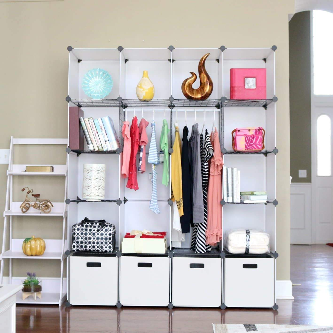 Featured unicoo diy 20 cube organizer cube storage bookcase toy organizer storage cabinet wardrobe closet deeper cube white