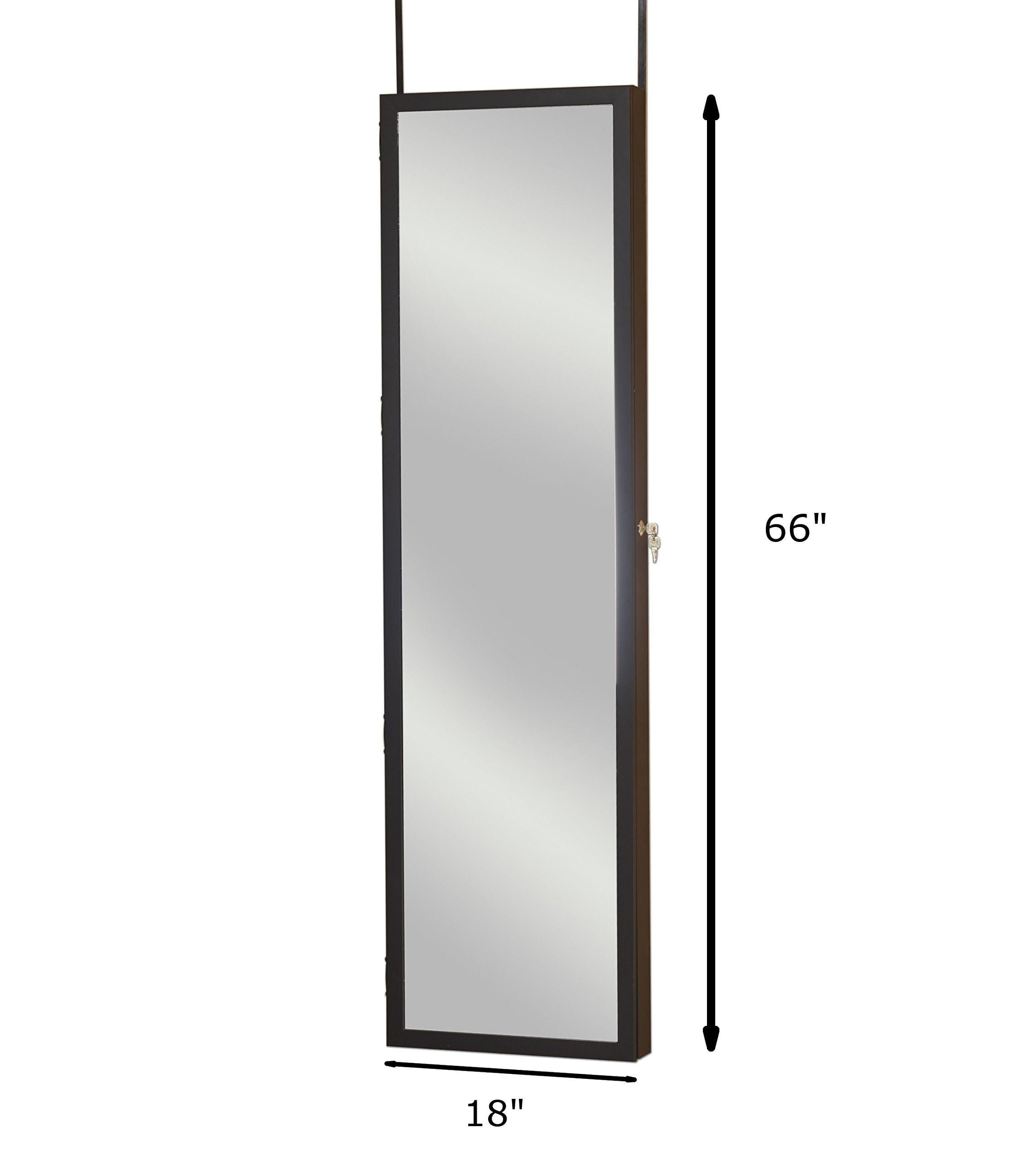 Shop here plaza astoria pa66bk wall mounted over the door super sized jewelry armoire storage cabinet with vanity full length dressing mirror black