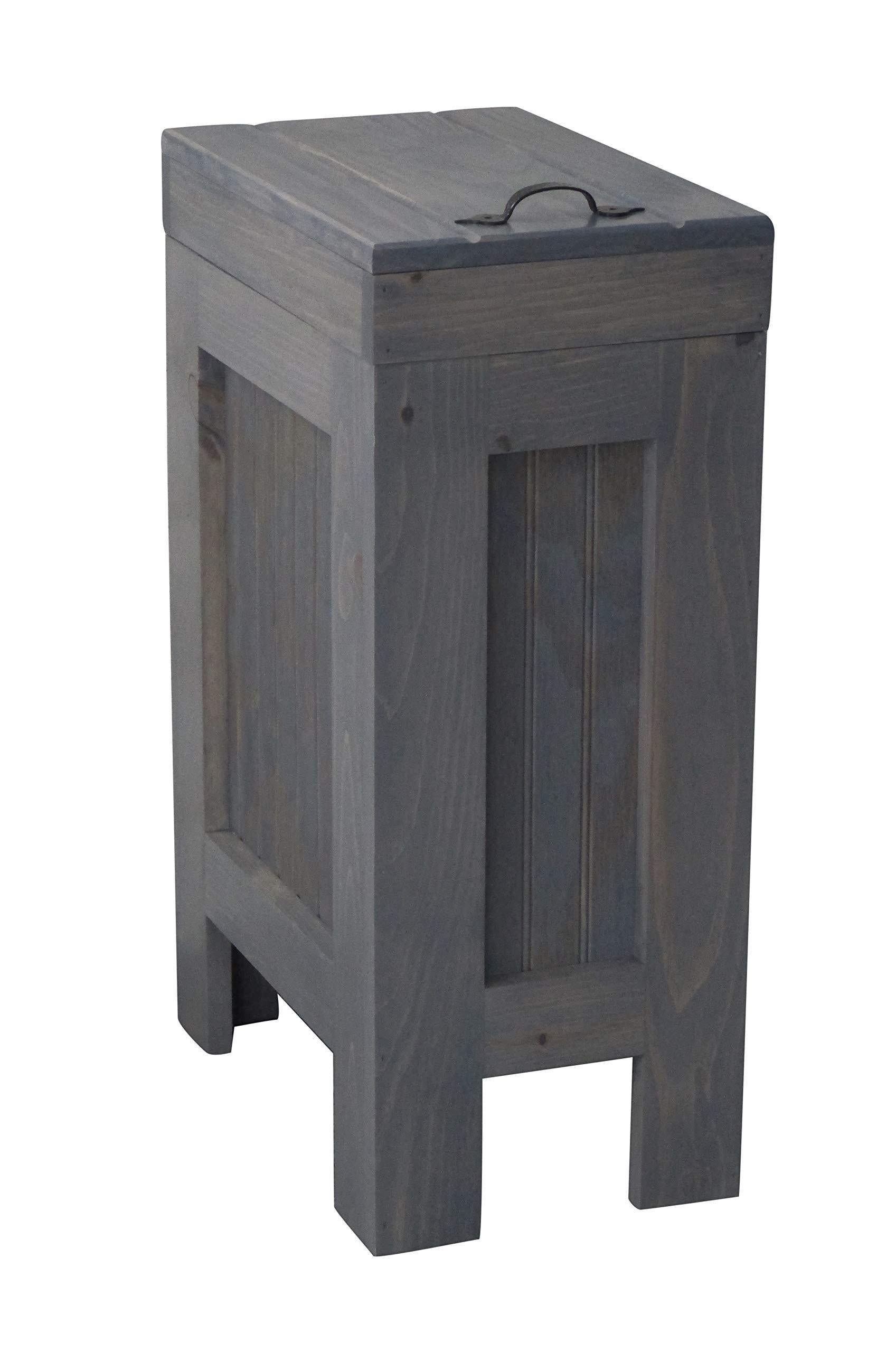 Try rustic wood trash bin kitchen trash can wood trash can trash cabinet dog food storage 13 gallon recycle bin gray stain metal handle handmade in usa by chris buffalowoodshop