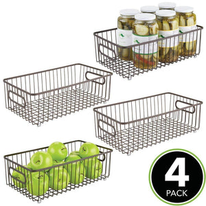 Best mdesign metal farmhouse kitchen pantry food storage organizer basket bin wire grid design for cabinets cupboards shelves countertops holds potatoes onions fruit large 4 pack bronze