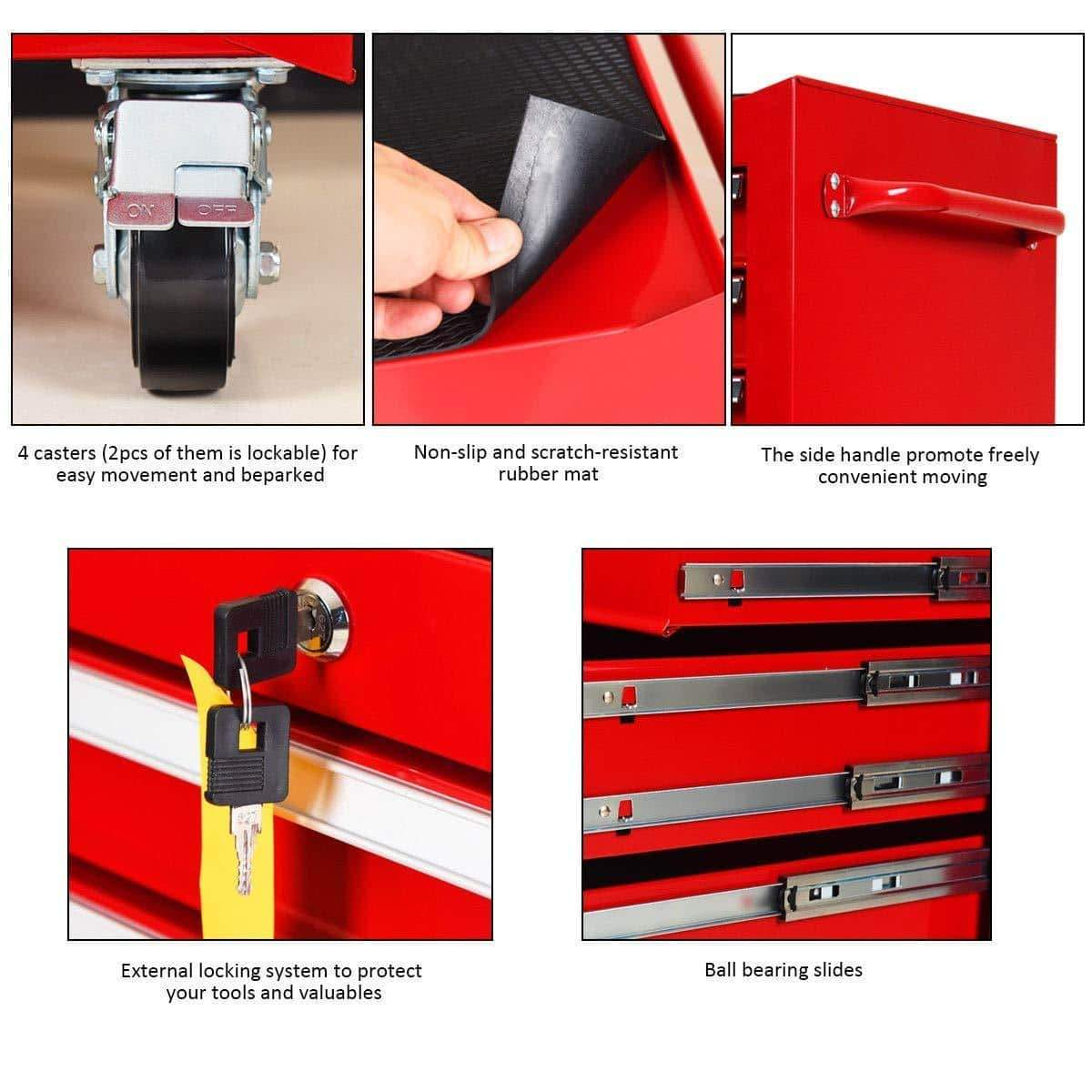 Buy goplus 30 x 24 5 tool box cart portable 6 drawer rolling storage cabinet multi purpose tool chest steel garage toolbox organizer with wheels and keyed locking system classic red