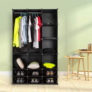 Best honey home diy modular shelving storage organizer 18 cube extra large portable wardrobe with clothes rod 12 cubes organizing cabinet 6 cubes shoe rack