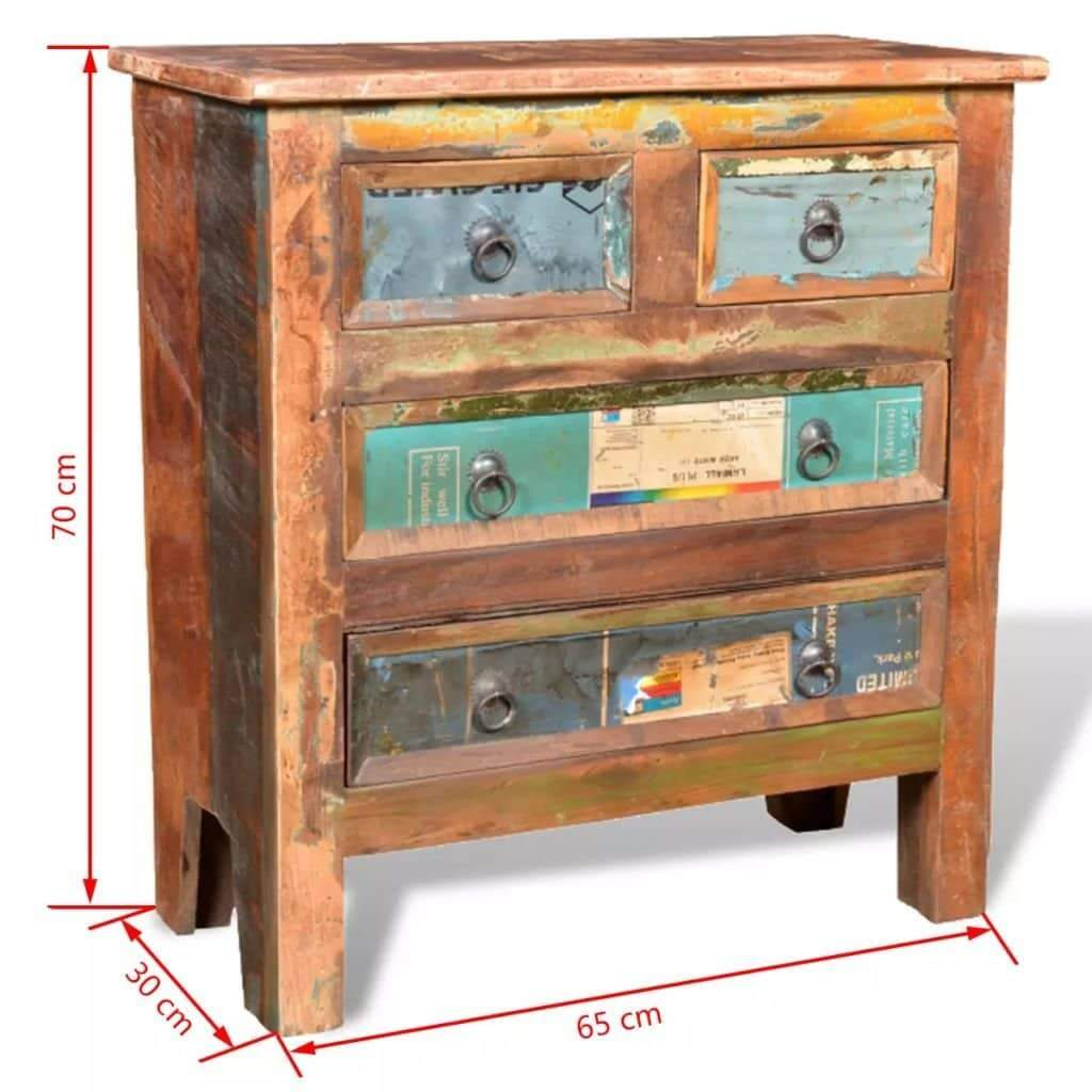 Amazon festnight buffet sideboard with 4 storage drawers reclaimed wood storage cabinet handmade for living room kitchen bedroom home furniture 26 x 12 x 28
