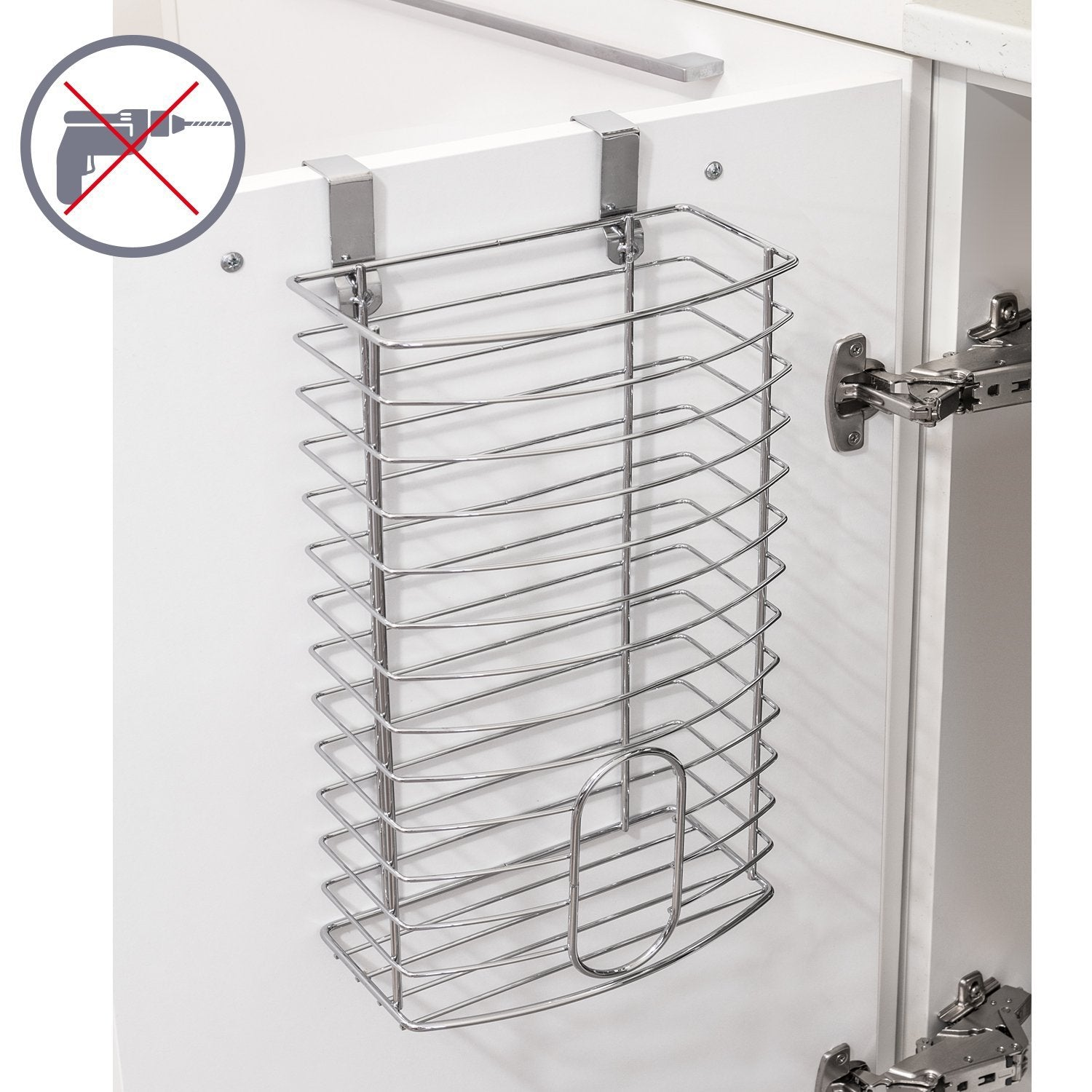 Tatkraft Fun Grocery Bag Holder - Bag Dispenser Over The Door Kitchen Storage Basket Chromed Steel