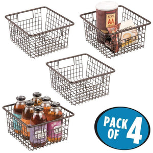 Top mdesign farmhouse decor metal wire food storage organizer bin basket with handles for kitchen cabinets pantry bathroom laundry room closets garage 10 25 x 9 25 x 5 25 4 pack bronze