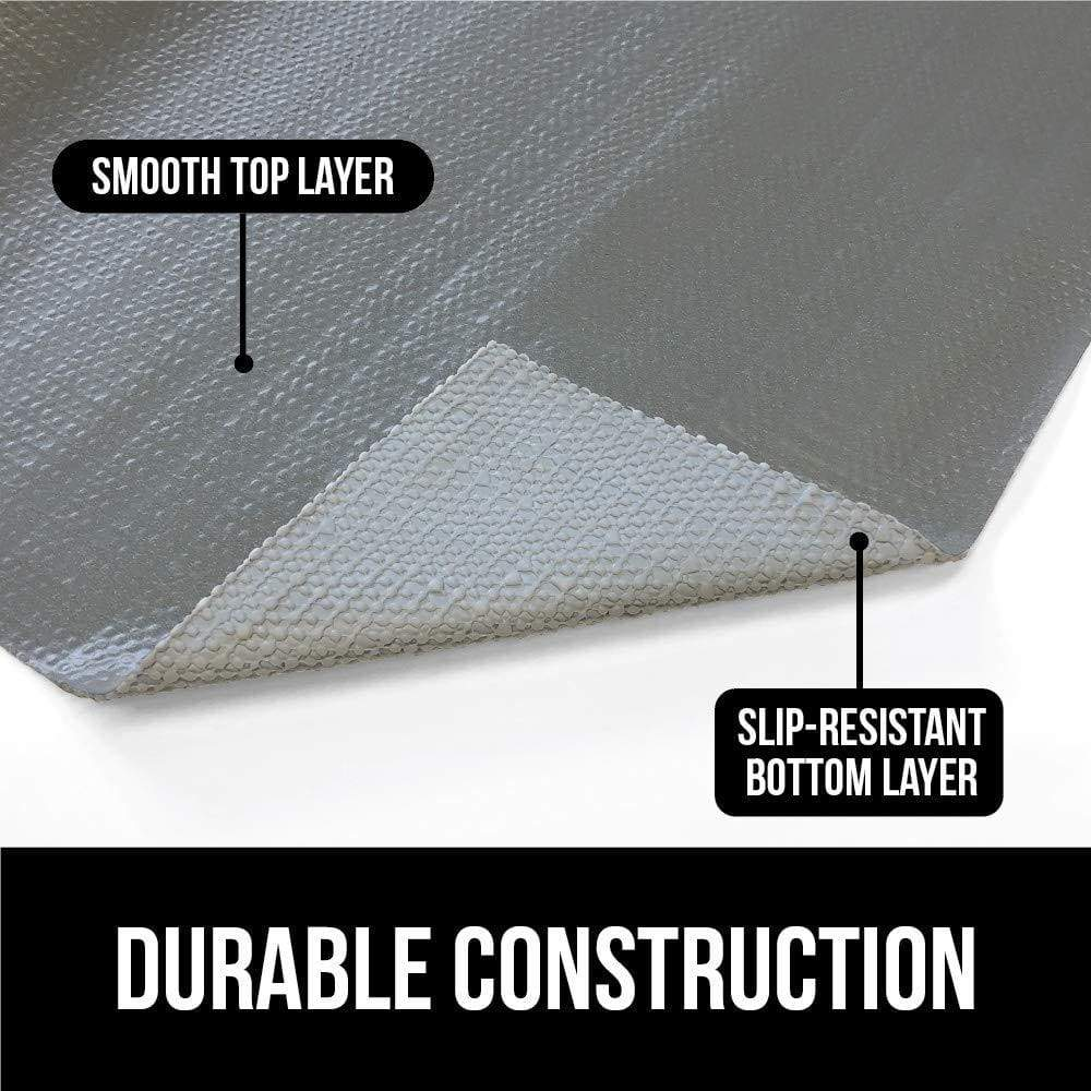 Top gorilla grip original smooth top slip resistant drawer and shelf liner non adhesive roll 17 5 inch x 20 ft durable kitchen cabinet shelves liners for kitchens drawers and desks damask beige