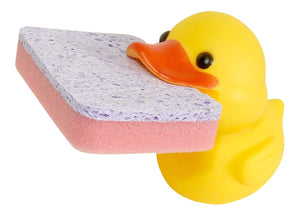 Dependable Products Animal Shape Novelty Kitchen Sponge Holder and Sponge Choice of Frog or Duck (Yellow Duck)