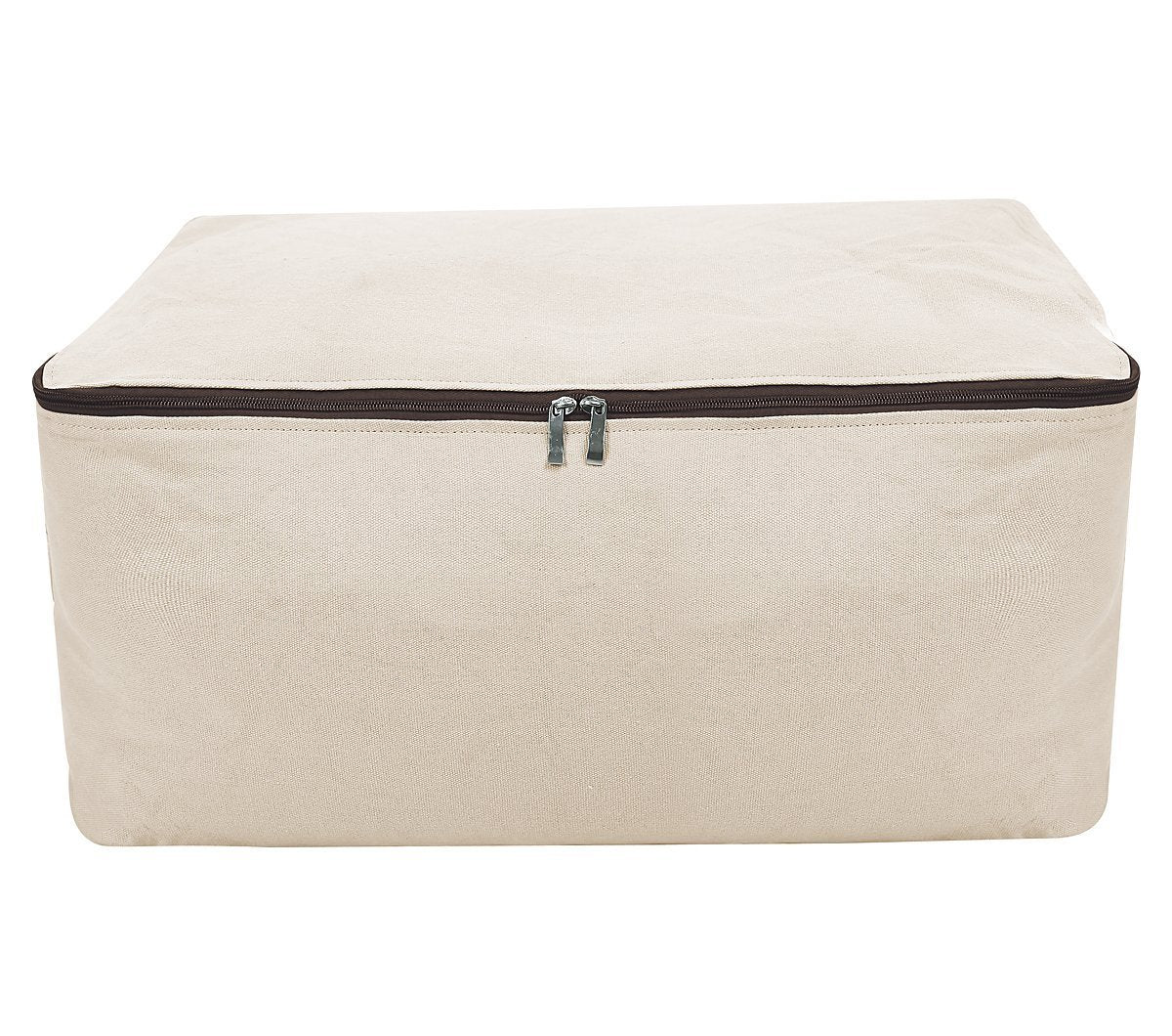 Shop premium canvas big size soft storage bag for bedroom closet winter garment sweaters down jacket coat uniforms suit etc cabinet organizer bag for seasonal clothes storage beige