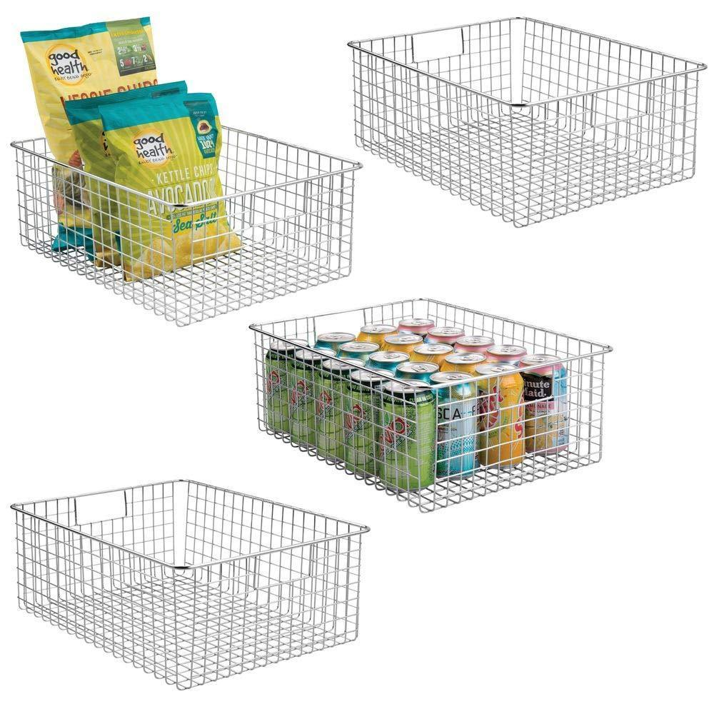 Home mdesign farmhouse decor metal wire food organizer storage bin baskets with handles for kitchen cabinets pantry bathroom laundry room closets garage 4 pack chrome