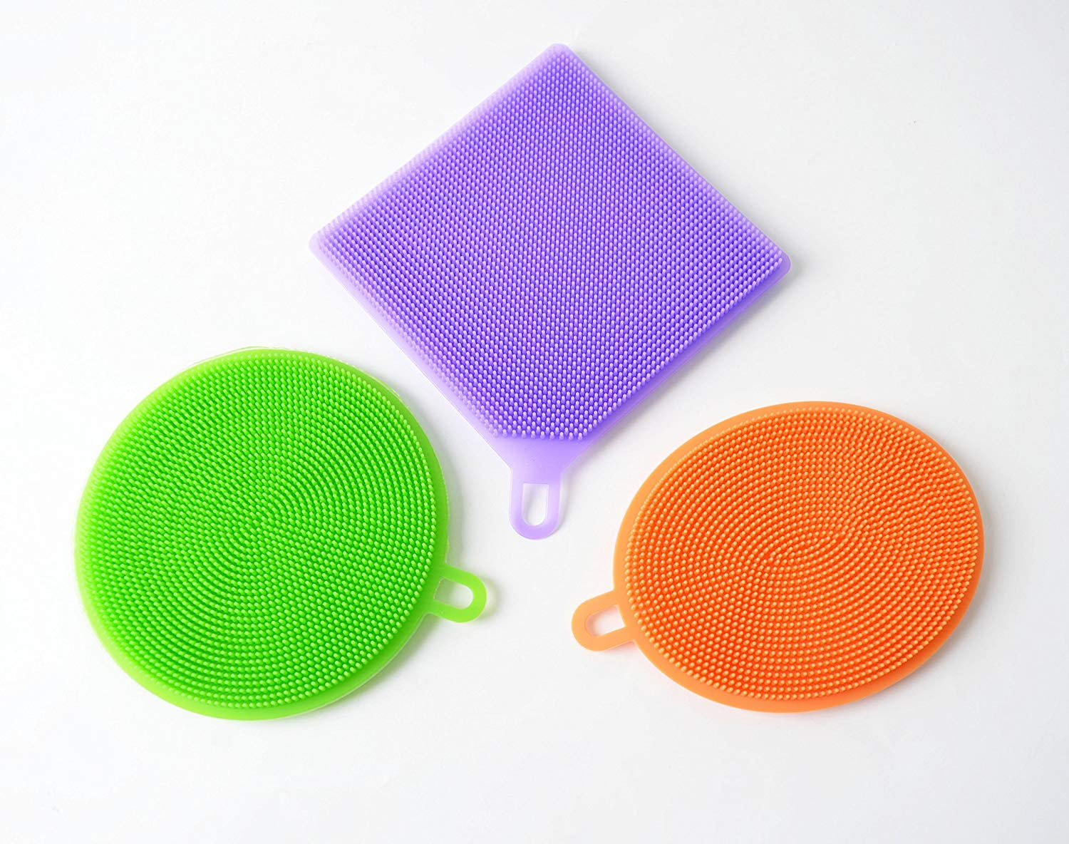 Silicone Scrubber Multipurpose Sponge - Clean Dish Wash Fruit and Vegetable - Free Kitchen Sponges - SWAY 3 Piece