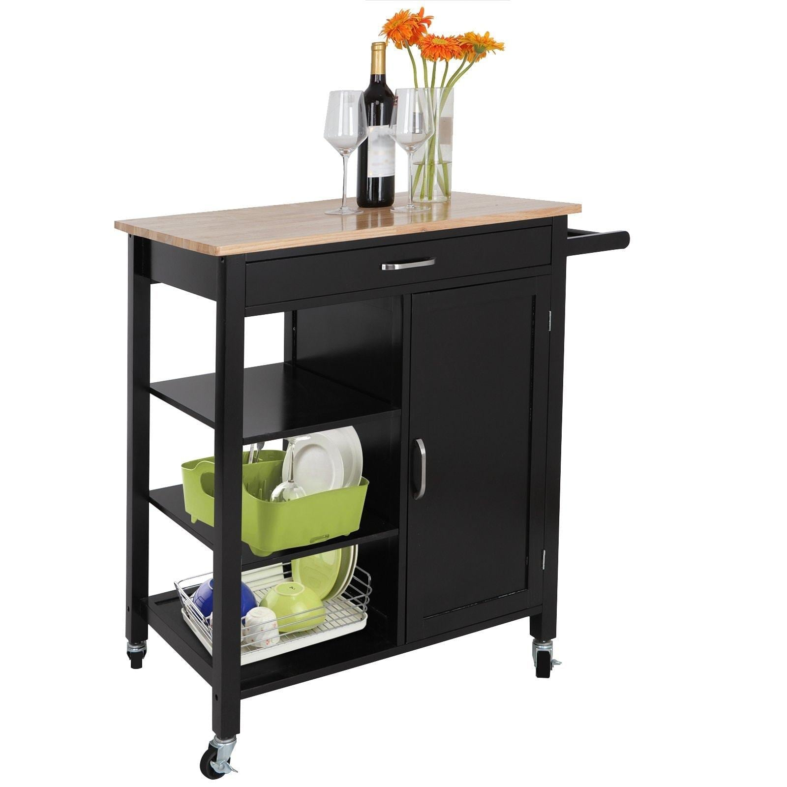 Great zenstyle 4 tier rolling kitchen island utility wood trolley serving cart kitchen storage cart w towel rack rubberwood butcher block countertop cabinet drawer shelves
