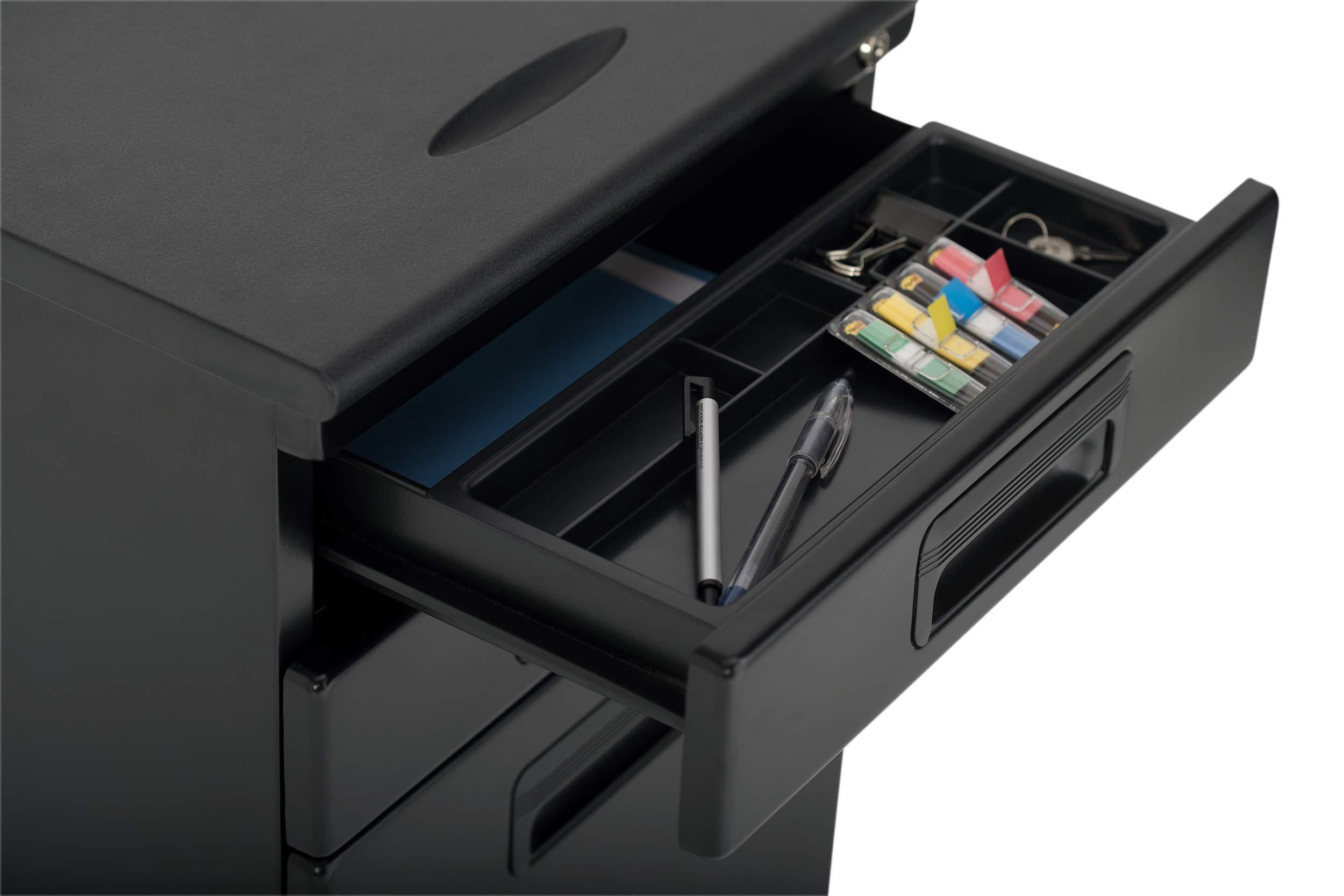 Get craft hobby essentials 62002 metal 3 vertical mobile filing cabinet 15 75 w x 22 d craft supply storage with locking drawers in black