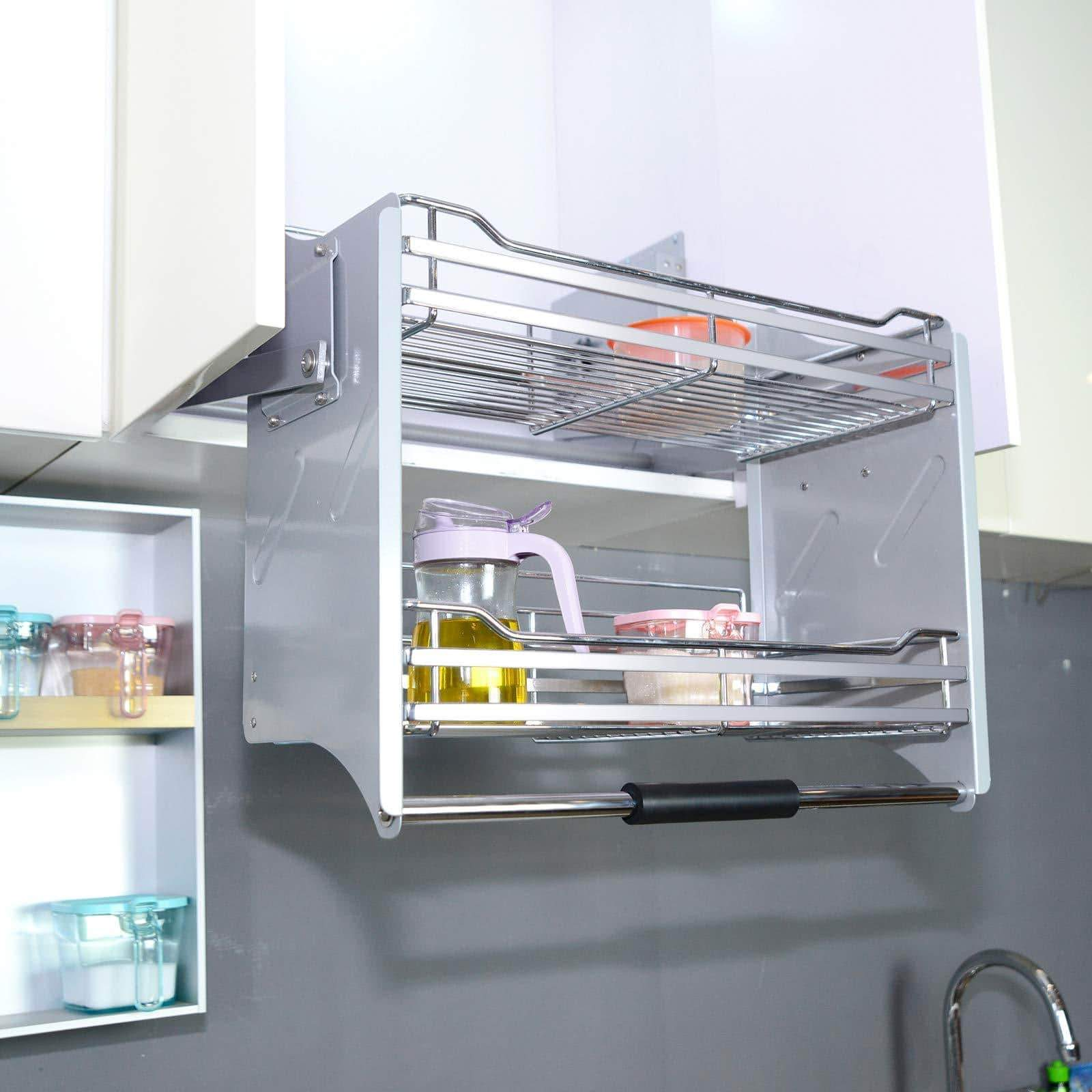 Budget pull down two tier shelf shelves cabinet for 600mm width cupboards steel wall unit storage organizer system kitchen