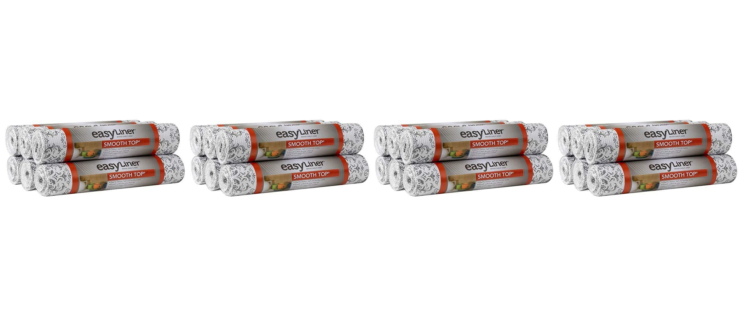Storage duck smooth top easy liner shelf liner top cabinet multipack 6 rolls each 12 width 10 length grey damask fð¾ur ñ€ð°ñ�k